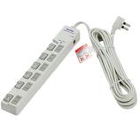 エルパ(ELPA) LEDスイッチ付タップ上ブレーカー 6個口 WLS-LU650SB(W) ホワイト│配線用品・電気材料 電源タップ・延長コード