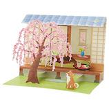 サンリオ 庭にしだれ桜と柴犬 203297│カード・ポストカード グリーティングカード