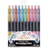 ゼブラ(ZEBRA) サラサクリップ 0.5mm デコシャインカラー JJ15-10C-SH 10色セット│ボールペン ゲルインクボールペン