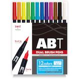 トンボ鉛筆 デュアルブラッシュペン 12色ベーシック AB−T12CBA