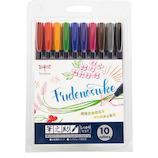 トンボ鉛筆 筆之助 筆文字水性サインペン しっかり仕立て 10色セット WS-BH10C│マーカー・サインペン サインペン・水性マーカー