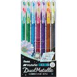 ぺんてる ハイブリッド デュアル メタリック 7色セット K110−DM7ST│ボールペン 水性ボールペン