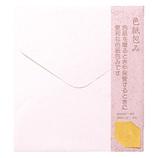 ミドリ カラー色紙包み 桃 34282−021│のし・色紙 色紙