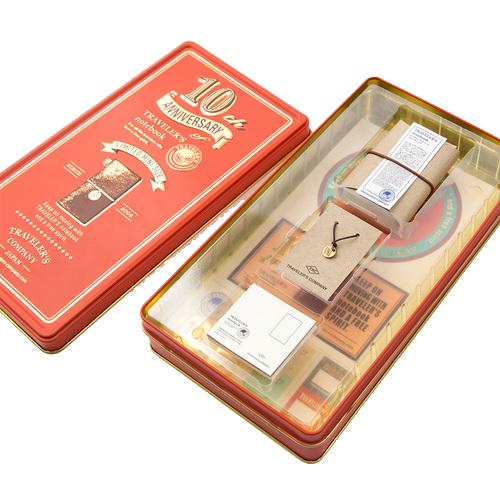 トラベラーズノート ミニ 10周年缶セット 茶