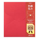 ミドリ カラー色紙包み リボンシール付 33250006 赤