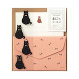 ミドリ ミニレターセット シール付き 86306006 黒猫柄│レターセット・便箋 レターセット