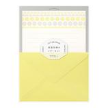 ミドリ レターセット 活版 86477 花ライン柄 黄│レターセット・便箋 レターセット