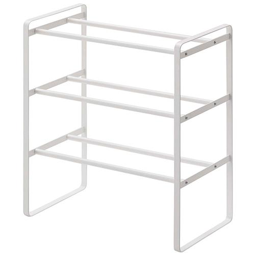 frame 伸縮シューズラック 3段 ホワイト│家具 傘立て・玄関収納