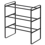 frame 伸縮シューズラック 3段 ブラック