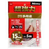 Nitto 超強力両面テープ多用途 15mm×5m T4542│ガムテープ・粘着テープ 両面テープ