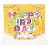 学研ステイフル 誕生日カード ネコ ポップアップカード B32070 ピンク