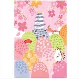学研 桜イラストポストカード AE15867 お城