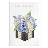 学研ステイフル 誕生日カード レーザー フラワー B38289 ブルー