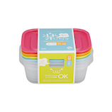 イノマタ 楽ちんパック 角型850mL 4色組│保存容器 タッパー