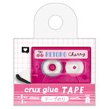 クラックス カセットテープ型テープのり 56725 クリアピンク