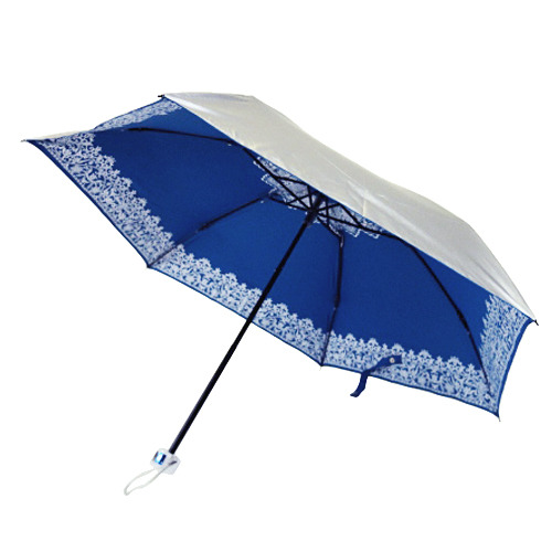 UVION 折りたたみ傘 シルバーコーティング レース柄 3862 ブルー