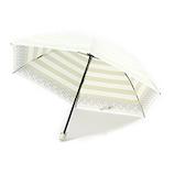 UVION 晴雨兼用傘 プレミアムホワイト ボーダー 3953 50cm ゴールド