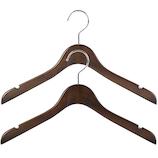 WARDROBE 女性用シャツハンガー ダークブラウン 2本組│ハンガー・衣類収納 木製ハンガー