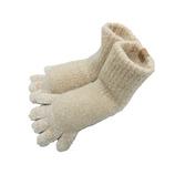もこもこ5本指靴下 ショート 杢ベージュ