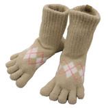 東急ハンズ限定 もこもこ5本指靴下 アーガイル ベージュ