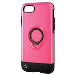【iPhone8/7】 エレコム TOUGHSLIM リング付 PM-A17MTSRPN ピンク