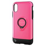 【iPhoneX】 エレコム TOUGHSLIM リング付 PM-A17XTSRPN ピンク