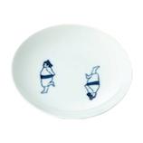 藍花 おすもうさん 小皿 おセンチ 14277