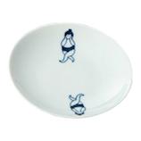 藍花 おすもうさん 小皿 オチャメ 14278