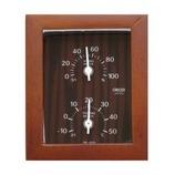 クレセル 天然木枠 温湿度計 CR-650C チーク色│温度計・湿度計