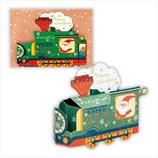 【クリスマス】ホールマーク 洋風クリスマスカード 立体 箔クリスマス汽車 710286