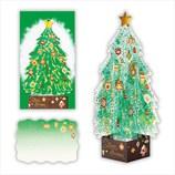 【クリスマス】ホールマーク 洋風クリスマスカード 立体 クリスタルグリーンツリー 710378