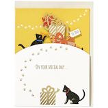 ホールマーク 誕生お祝い 立体カード ハッピーレーザー 719173 HL猫とプレゼント