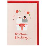 ホールマーク 誕生お祝い 立体カード 732516 ペット・ペア文鳥