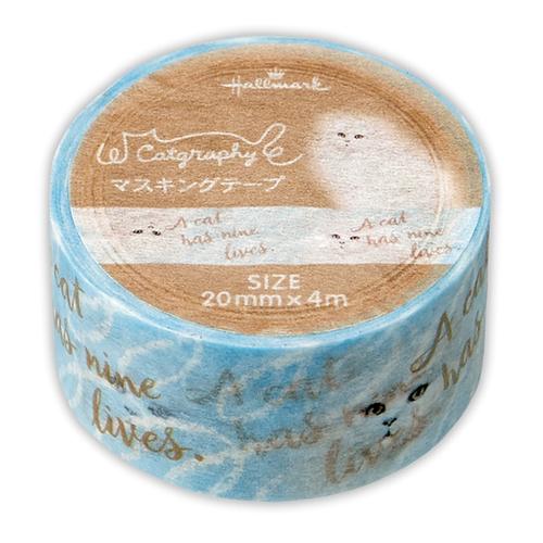 <東急ハンズ> ホールマーク キャットグラフィー マスキングテープ 739867 ブルー しぶとい猫