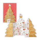 【クリスマス】ホールマーク クリスマスカード 立体カード サンタツリー ゴールド 765866