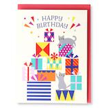 ホールマーク(Hallmark) 誕生お祝いカード 立体 ピークカラー 770822 プレゼントボックスと猫│カード・ポストカード バースデー・誕生日カード