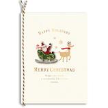 【クリスマス】アートプリントジャパン クリスマスグリーティングカード ウッドパーツ サンタとソリ XC‐102215