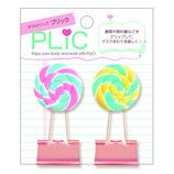 アートプリントジャパン ダブルクリップ PLIC(プリック) ペロペロキャンディー│クリップ・ステープラー ターンクリップ