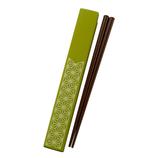 日本伝統色 和文様 箸&箸箱セット 若葉色 麻の葉