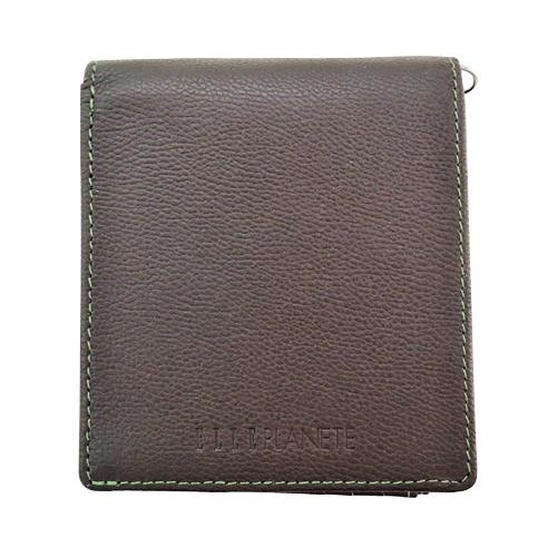 エルプラネット(ELLE PLANETE) Dカン付 中L字ファスナー二つ折り財布 71370 チョコ/グリーン