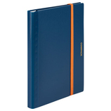 キングジム 二つ折りクリアーファイル コンパック 5894H ネイビー×オレンジ│ファイル レール式・挟み込みファイル