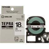 キングジム プロテープカートリッジ 18mm 白/黒文字 SS18K
