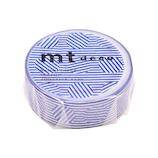 カモ井 マスキングテープ mt 1P ボーダー&サークル MT01D437 ブルー