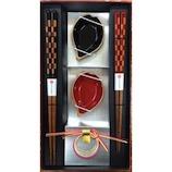 カワイ 箸市松格子×花びら小鉢箸置き揃え