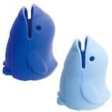 マーナ 立つ歯ブラシカバー W622B ペンギン ブルー ライトブルー 2個入