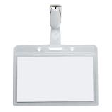 プラス(PLUS) ネームタッグ(名札) CT-605Y 横型 樹脂クリップ│名札・カードホルダー ネックストラップ・リールクリップ