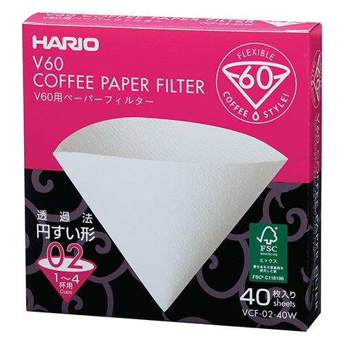 ハリオV60用紙フィルター 02酸素漂白40枚入