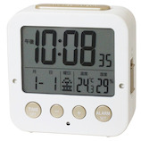 クレファー Wアラーム電波時計 IAC-5637-WTD ホワイト
