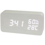 クレファー 木目調LEDデジタルクロック M IAC-5655-WT ホワイト│時計 目覚まし時計