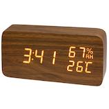 クレファー 木目調LEDデジタルクロック M IAC-5655-BR ブラウン